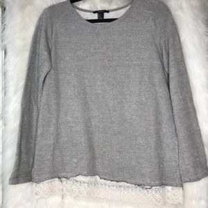 Grey sweater with lace detail